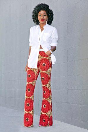 Oversized Button Down Shirt + Ankara Print Pants