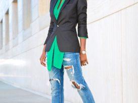Black Blazer + Tie Front Blouse + Distressed Boyfriend Jeans