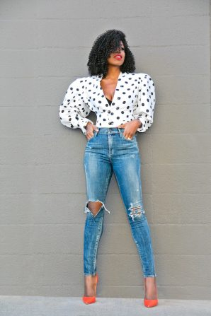 Polka Dot Puff Shoulder Blouse + High Waist Ripped Jeans