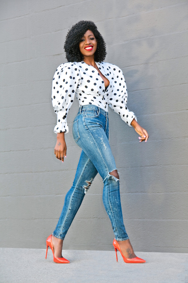 style pantry polka dot puff shoulder blouse high waist
