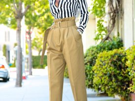 Striped Button Down + High Waist Khaki Pants