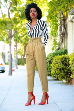 Striped Button Down + High Waist Khaki Pants