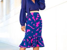 Tie Front Blouse + Peplum Hem Midi Skirt
