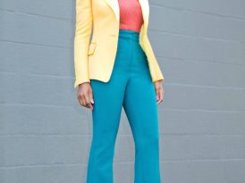 Structured Blazer + Tank + High Waist Flare Pants