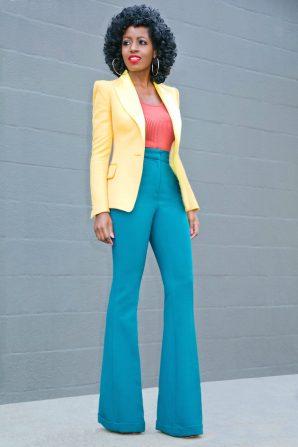 Structured Blazer + Tank + High Waist Flare Pants