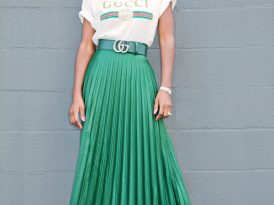Logo Print T-Shirt + Pleated Midi Skirt