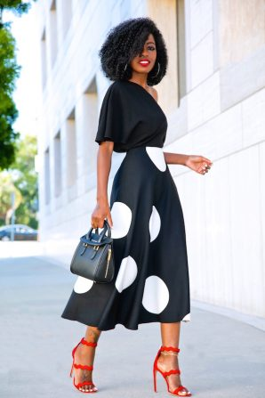 One Shoulder Silk Blouse + B&W Polka Dot Midi Skirt