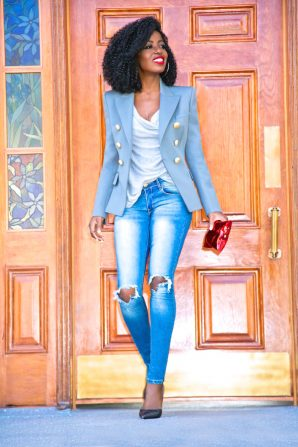 Double Breasted Blazer + Cowl Neck Top + Ripped Skinny Jeans