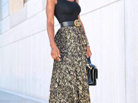 Fitted Tank Top + Tiered Metallic Midi Skirt