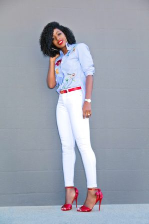 Embroidered Buttoned Down Shirt + White Skinny Jeans