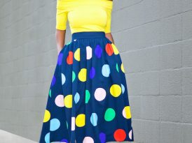Off Shoulder Top + Polka Dot Midi Skirt