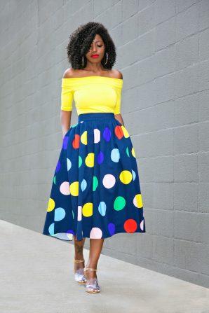 Off Shoulder Top + Polka Dot Midi Skirt