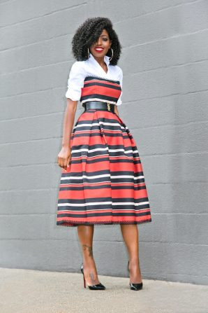 White Button Down Shirt + Striped Strapless Midi Dress