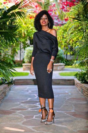 Black Slouchy Off Shoulder Midi Dress