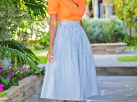 Orange Button-Up Shirt + Striped Full Midi Skirt