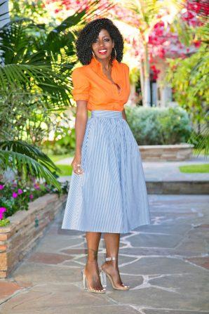 Orange Button-Up Shirt + Striped Full Midi Skirt