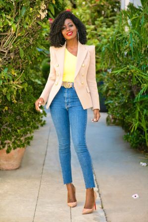 Double Breasted Blazer + One Shoulder Tank + High Waist Jeans