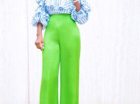 Striped Pleated Sleeve Off Shoulder + Silk High Waist Pants
