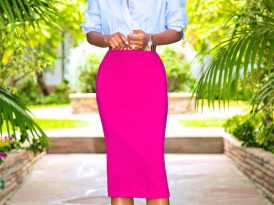 Oversized Chinese Collar Button-Up + Midi Pencil Skirt