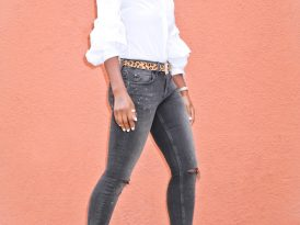Collared Off Shoulder Button-Up + Ripped Faded Jeans