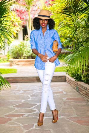 Linen Button Up + Ripped Ankle Length Jeans