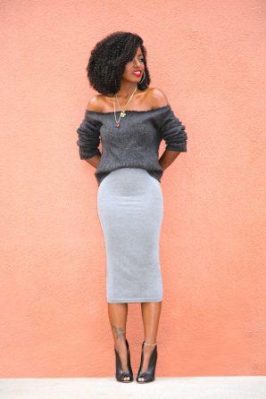 DIY Off Shoulder Sweater + Jersey Pencil Midi Skirt