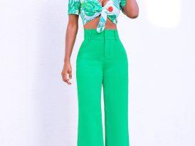 Print Tie Front Crop Top + High Waist Wide Leg Pants