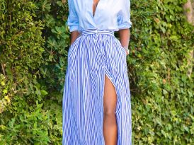Oversized Button Up + Striped Button Down Skirt