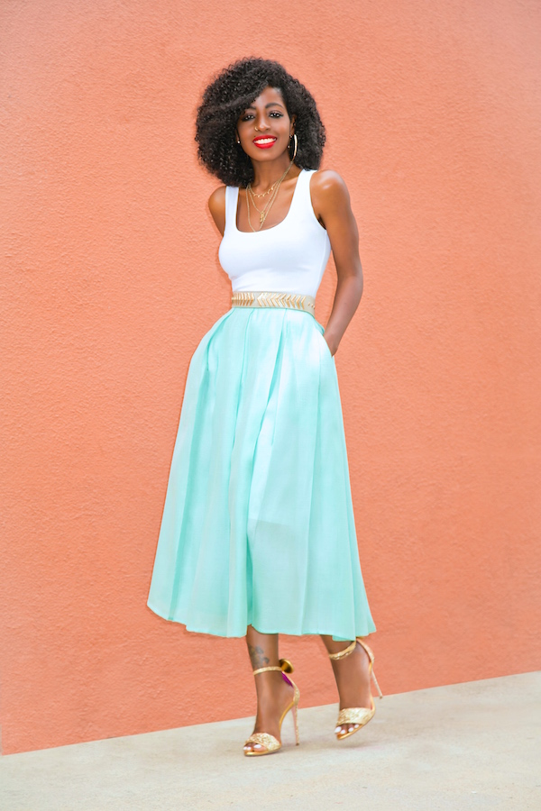 Style Pantry | Fitted Tank Dress + Sheer Mint Pleated Skirt