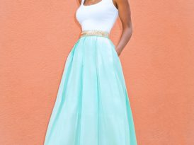 Fitted Tank Dress + Sheer Mint Pleated Skirt
