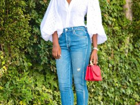 Eyelet Bishop Sleeve Blouse + High Rise Cropped Jeans