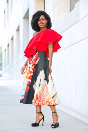 Ruffled One Shoulder Top + Floral Pleated Midi Skirt