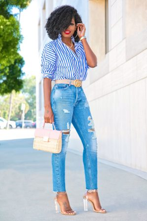 Oversized Striped Button Up + High Waist Distressed Jeans