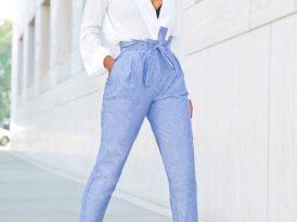 Draped Long Sleeve Blouse + High Waist Chambray Pants