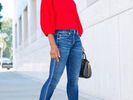 Asymmetric Off Shoulder Top + Twist Skinny Ankle Jeans