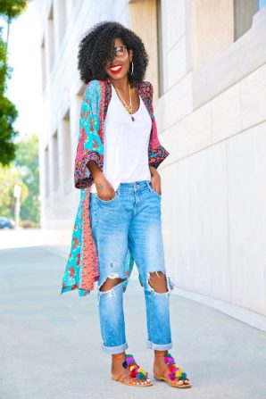 Printed Kimono + Tank + Distressed Boyfriend Jeans