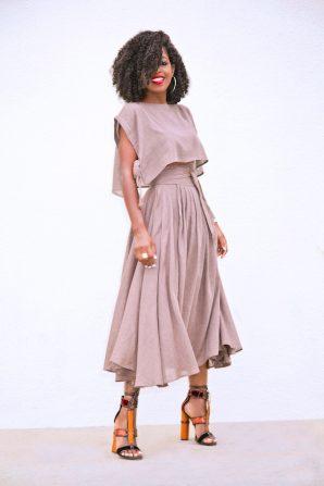 Boxy Crop Top + Wrap Midi Skirt