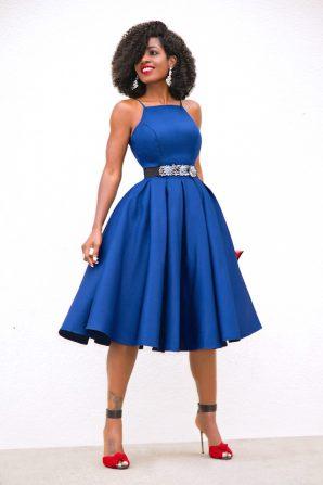 Navy Fit & Flare Midi Dress