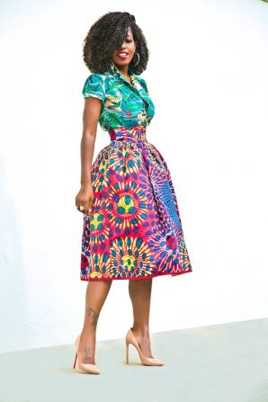 Print Short Sleeve Button Up + Printed Full Midi Skirt