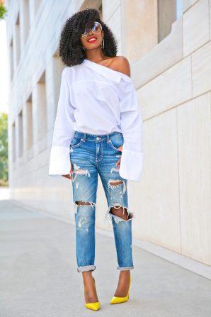 Oversize Off Shoulder Shirt + Boyfriend Jeans