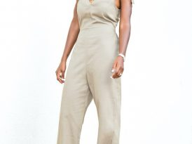 V Neck Jumpsuit w/ Tie Shoulder Detail