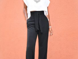 Boxy Crop Top + Belted High Waist Pants