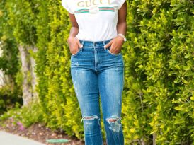 Gucci Print Tee + High Rise Distressed Jeans