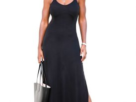 Jersey Maxi Dress with Side Slit