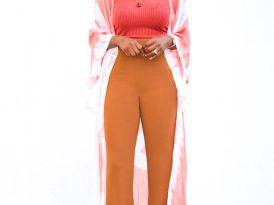 Print Kimono + Ribbed Tank + High Waist Pants