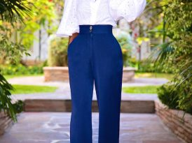 Eyelet Bishop Sleeve Blouse + High Waist Wide Leg Pants
