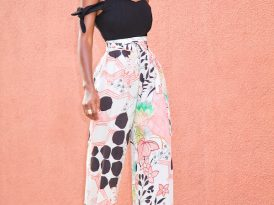 DIY Tie Sleeves Suit + Print Belted High Waist Pants
