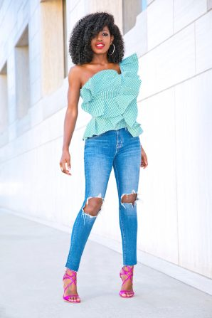 One Shoulder Gingham Peplum + Ripped Levi's Jeans