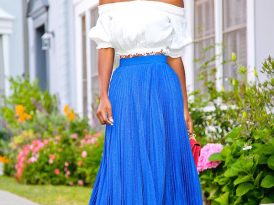 Off Shoulder Blouse + Pleated Maxi Skirt