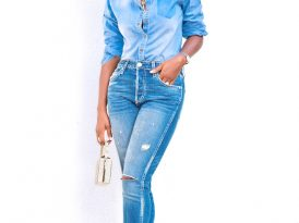 Chambray Shirt + Ankle Length Distressed Jeans